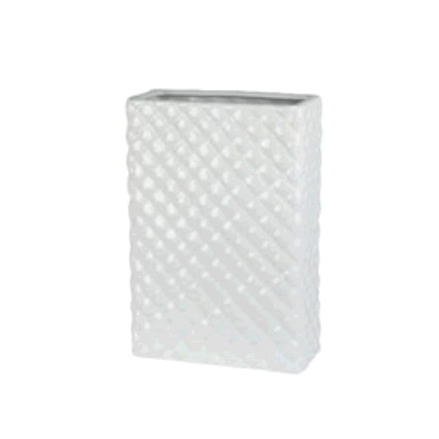 Where to find Vase - Rectangle White Porcelain Quilted in Monterey