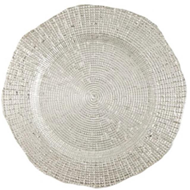 Where to rent Charger Glass - 13  Mosaic Silver in Monterey Peninsula
