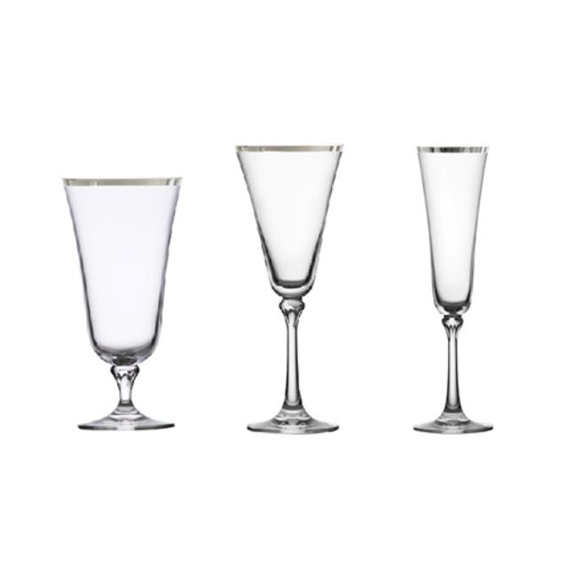 Where to find Charlotte Silver Rim Glassware in Monterey